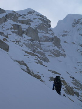Approaching the base of the Entrance Couloir