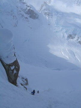 Climbing the Entrance Couloir