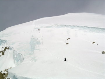 Close up of climbers on the Shield