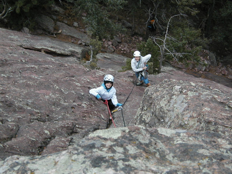 Rock Climbing Photo: Dylan and his Grandma Diana on his first climb.