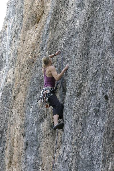 Rock Climbing Photo: Sasha, awash in a sea of limestone.