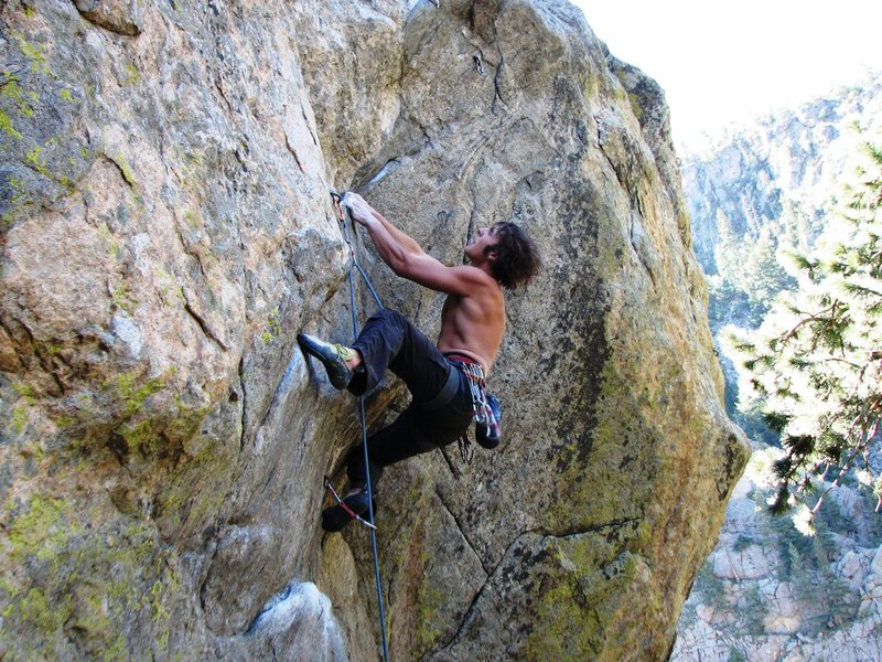 Rock Climbing Photo: Thank-god-jug rest before the sloper rail and crux...