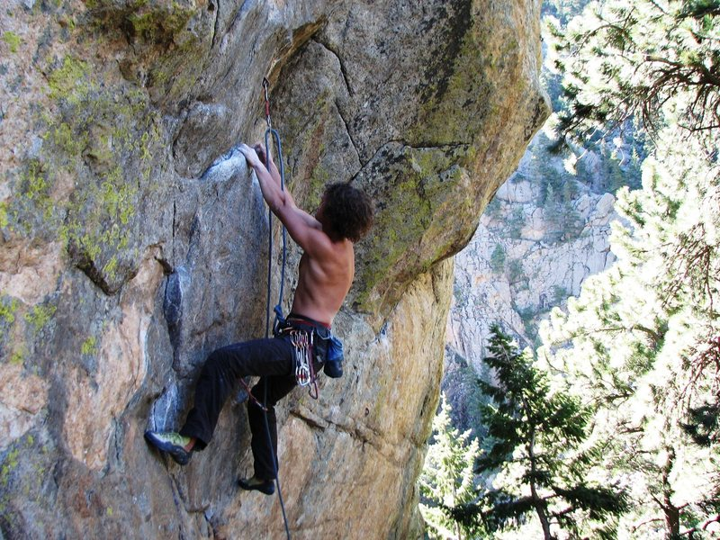 The lower section of the route with some fun and easy 10 moves on relatively large holds.