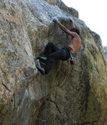 Rock Climbing Photo: On the positive slopers of the crux and figuring o...