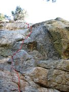 Rock Climbing Photo: Red line marks the route and black Xs mark bolts a...