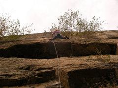 Rock Climbing Photo: alysha just having pulled the roof