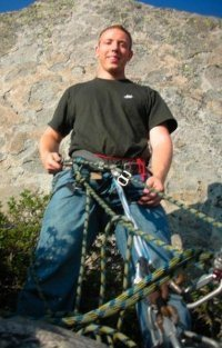 Me belaying from above. Taylor is taking the snapshot below