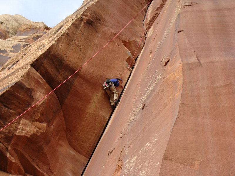 Rock Climbing Photo: Me laybacking Incredible Handcrack (it was just to...