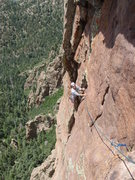 Rock Climbing Photo: Mike coming across the excellent 4th pitch of Litt...