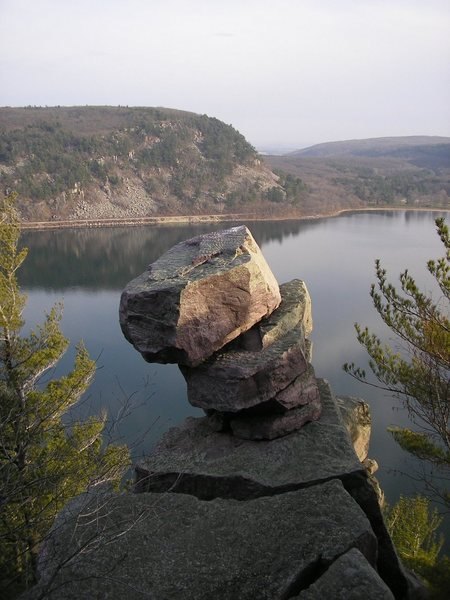 A shot of Turks Head, west bluff, Devils Lake