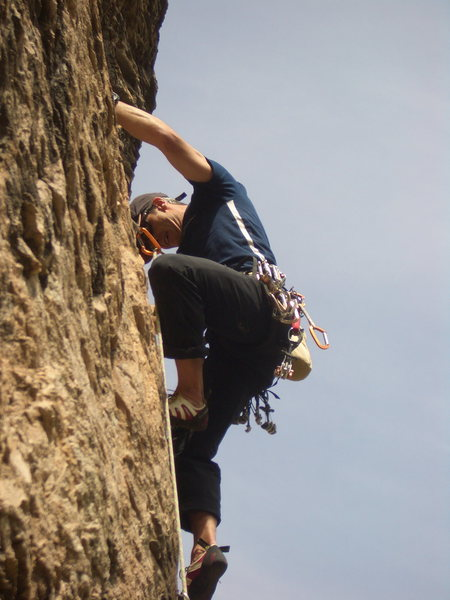 Rock Climbing Photo: Tom on Spine Fish.