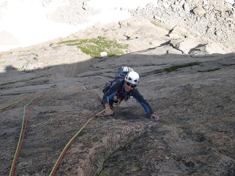 Rock Climbing Photo: The top of the crux pitch.  Awesome exposure on pe...