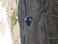 Rock Climbing Photo: The upper half of the crux pitch.