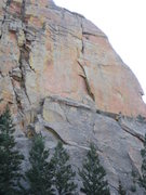 Rock Climbing Photo: Rampart is the striking, left-facing dihedral in t...