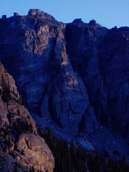 Rock Climbing Photo: Zowie from Loch Vale in early morning.
