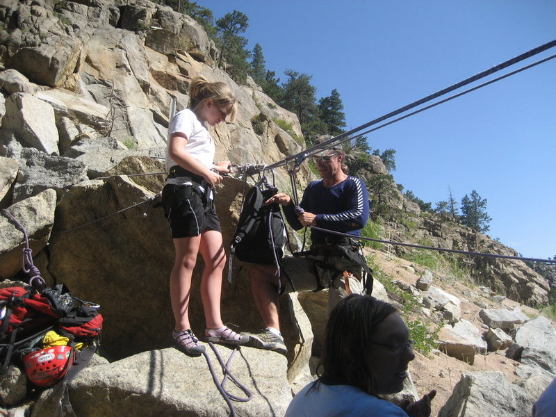 Rock Climbing Photo: Emmy prepping to cross the river before her first ...