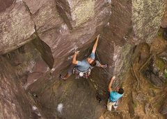 Rock Climbing Photo: Devils Lake. Henning Boldt on the opening moves of...