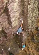 Rock Climbing Photo: Devils Lake. Plethora. Crux. Henning Boldt leading...