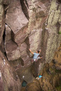 Rock Climbing Photo: Devils Lake. Plethora. Just past the first crux. H...