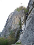 Rock Climbing Photo: Thin Air going to Belay ledge on pitch 2