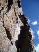 Rock Climbing Photo: Moving left at the top of the main corner to the s...