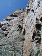 Rock Climbing Photo: Ran Glennon leading P3. The wide crack that Christ...