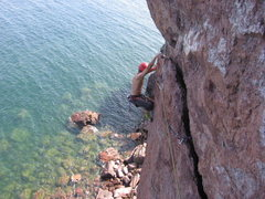 Rock Climbing Photo: Chris Deulen on the second pitch traverse.