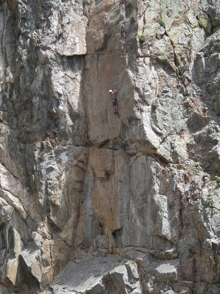 Bob R. at the first pitch crux of Eternal Sunshine.  EOA is in the big dihedral to his left.
