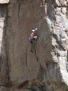 Rock Climbing Photo: Crimping through the crux on P1.