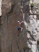 Rock Climbing Photo: Finishing the crux.