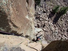 Rock Climbing Photo: Looking down from the first belay.