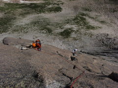 Rock Climbing Photo: Brian following pitch 3, Chris or Tim leading belo...