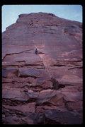 Rock Climbing Photo: Tim Kudo leading Pale Fire. Nov. 87