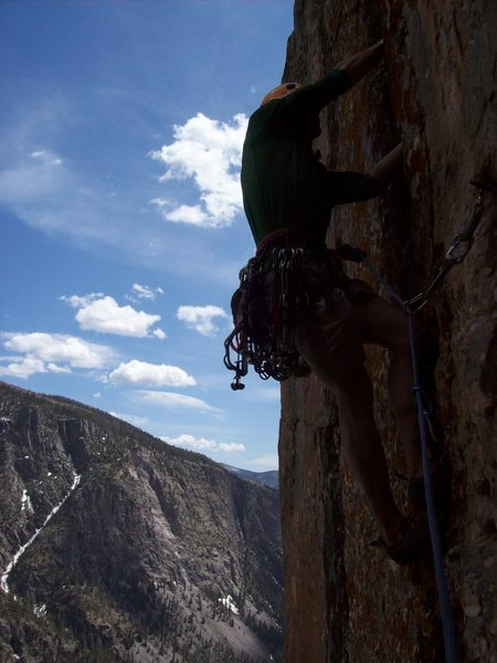 Cory jamming on the first ascent of No Country for Old Men (5.10) Tradistan Tower.