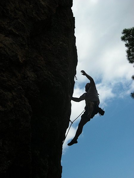Rock Climbing Photo: Marty losing the fight against gravity on the not ...