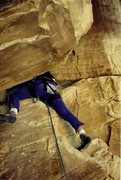 Rock Climbing Photo: Paul heading into the squeeze chimney on the final...