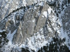Rock Climbing Photo: Middle Bell Tower in winter conditions.  Taken fro...