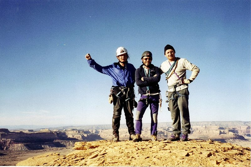 Three desert rats on the summit,Layne,Paul and Andy