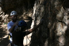 Rock Climbing Photo: My husband checking my helmet before starting to c...