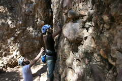 Rock Climbing Photo: Husband spotting me to the first clip
