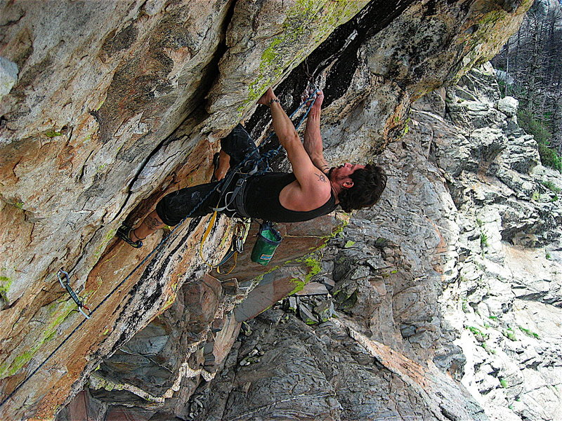 Rock Climbing Photo: Mikie battling for the onsight.