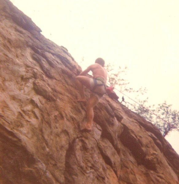 Rock Climbing Photo: Burn Crack  5.10  barefoot