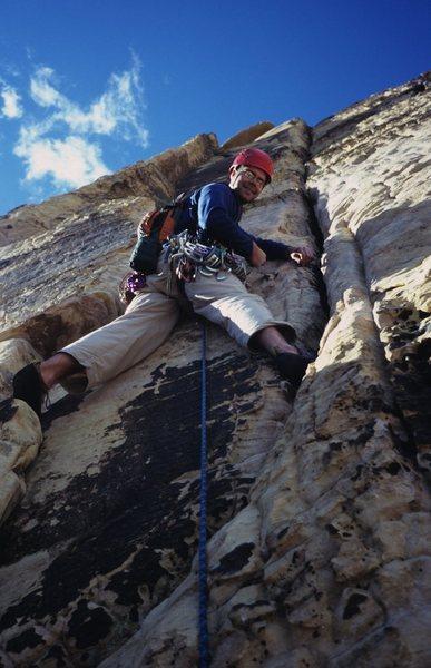 Enjoying the climbing on Solar Slab