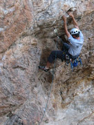Rock Climbing Photo: John Ross at the crux of Hell's Bells.