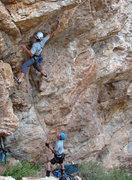Rock Climbing Photo: John Ross making the third clip on Givin the Dog a...