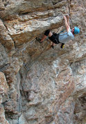 Rock Climbing Photo: Kip Henrie getting horizontal on Givin the Dog a B...