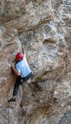 Rock Climbing Photo: Angus: Not the hard part.  Photo by John Ross.