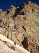 Rock Climbing Photo: The approach snowfield and 4th-Class start. 8-1-08...