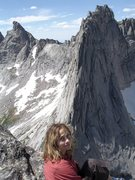 Rock Climbing Photo: Cirque Of The Towers, Wy.  Helmet Head on the summ...