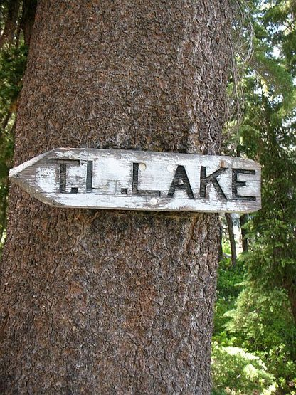 Trailside sign, T J Lake
